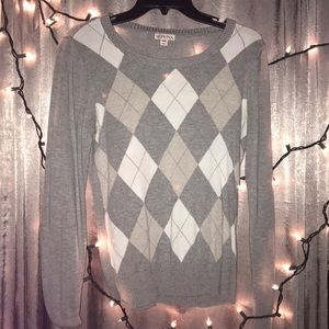 Argyle Sweater Grey/White/Beige